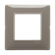 Placca Vimar Plana 14642.40 2 moduli posti colore cenere