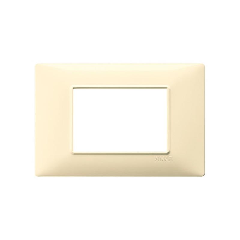 Placca Crema 3 Posti Moduli, color crema, 14653.04 costruita tecnopolimero