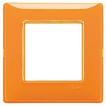 placche vimar plana arancioni, 2 moduli posti, effetto riflettente reflex, codice 14642.48