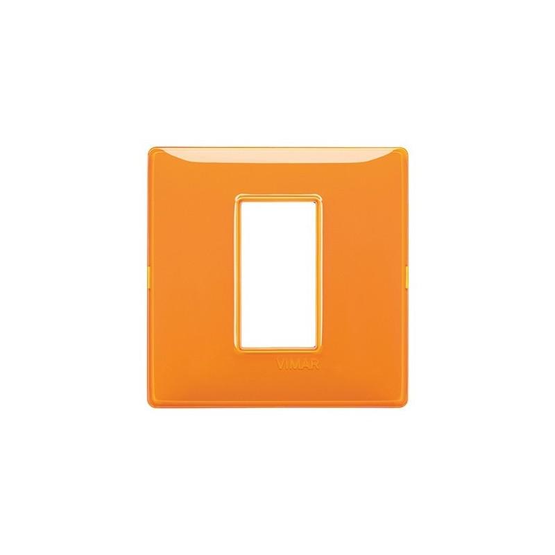 placche vimar plana arancioni, 1 modulo posto, effetto riflettente reflex, codice 14641.48