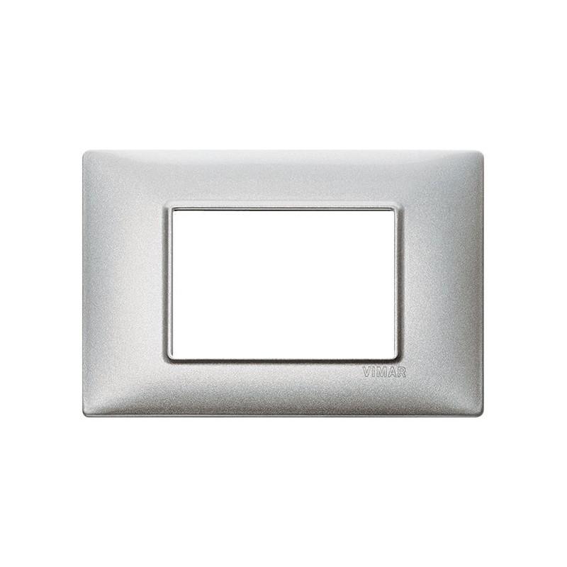 placca in metallo, colore argento metallizzato, 3 moduli posti, miglior prezzo