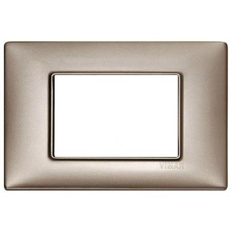 Placca Nichel Perlato Vimar Plana 3, 4 Moduli Metallo