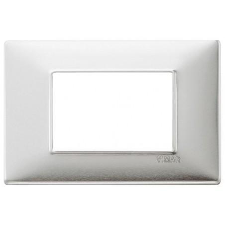 Placca Vimar Plana Alluminio Spazzolato 1, 2, 3, 4, 7 Moduli Metallo