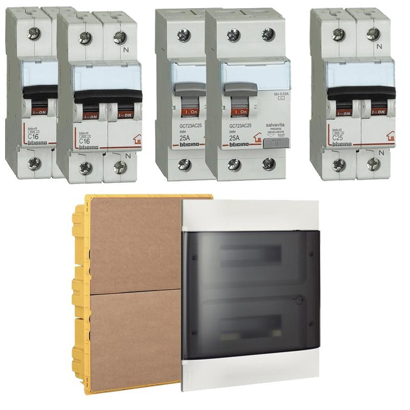 Kit completo per casa da 50 a 125 mq Magnetotermici, Differenziali, Salvavita e Quadro Elettrico Bticino