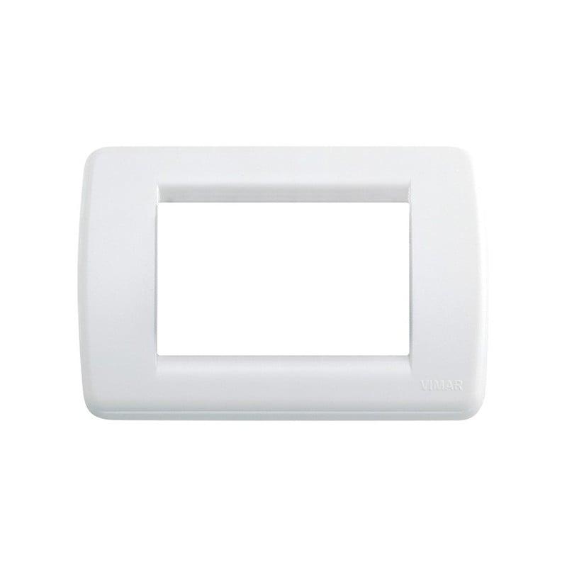 Placca Rondò 3 moduli posti, tecnopolimero, bianco brillante, forma rotonda, codice vimar 16763.01