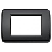 Placca Rondò 3 moduli, tecnopolimero,colore nero, rotonda, miglior prezzo online.