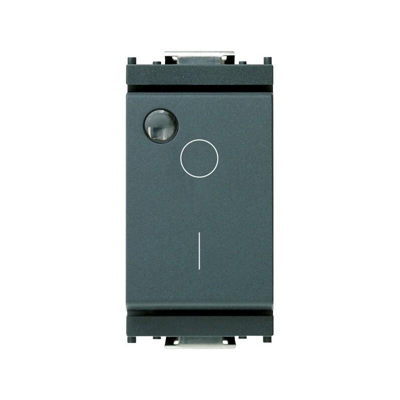 Interruttore Bipolare 2P 16AX 250 V~, luminoso, per unità di segnalazione, grigio