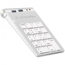 Tastierino numerico USB XtremeMAC XM-NPHUB32-AU-SLV Porta USB, Collegamento audio Argento/Bianco