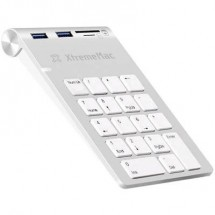 Tastierino numerico USB XtremeMAC XM-NPHUB32-CR-SLV Porta USB, Collegamento audio Argento/Bianco