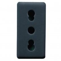Presa 2P+T bivalente standard italiano con schermi, system black