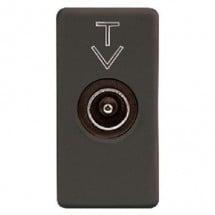 Presa coassiale TV/SAT schermatura classe A, connettore iec maschio 9,5mm, passante 5dB, 1 modulo, system black