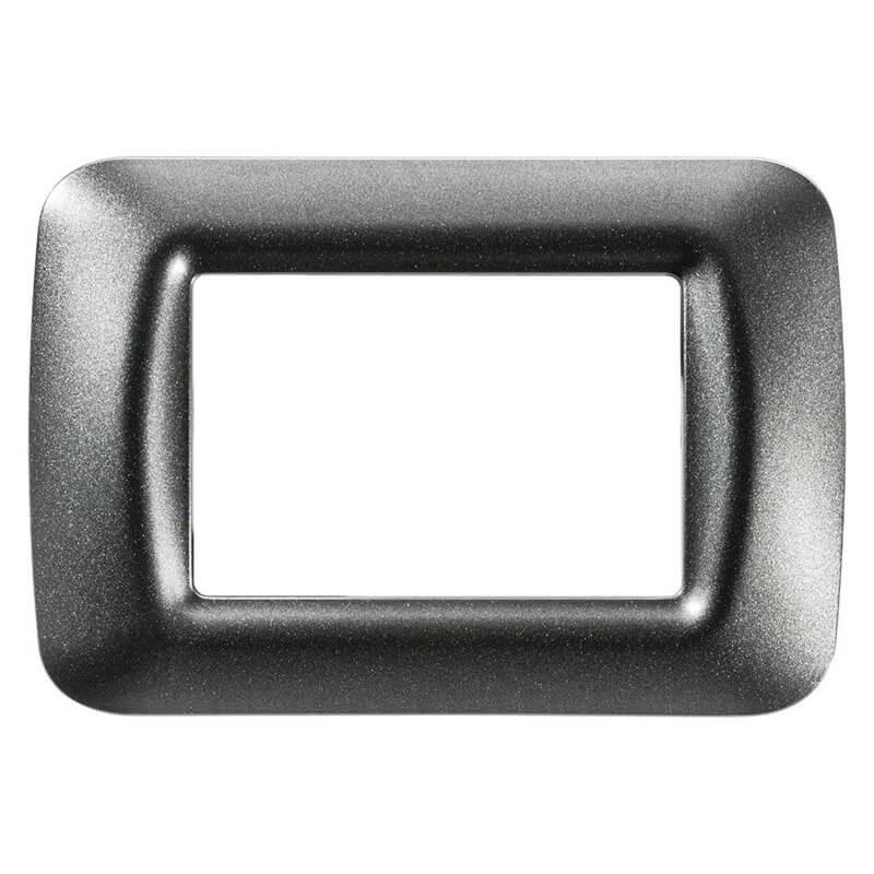Placca 3 posti ardesia metallizzato in tecnopolimero , colore metallizzato e finitura lucida