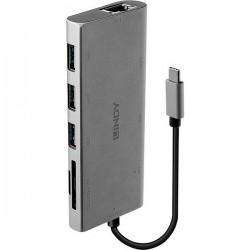 LINDY 43278 USB-C Convertitore [1x spina USB-C™ - 9x presa USB-C™, Presa VGA, Presa HDMI, Presa RJ45, Presa A USB 3.2