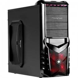 Rasurbo GAME-X7 Midi-Tower PC Case da gioco, PC Case Nero/Rosso 1 ventola LED pre-montata
