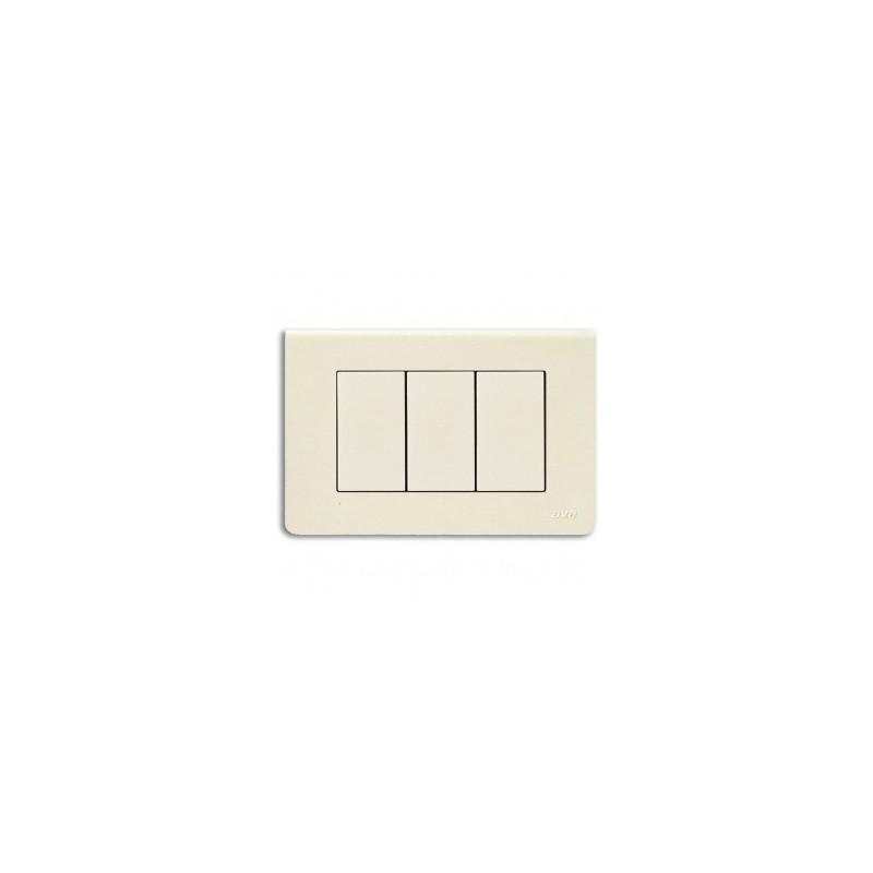 Placche in tecnopolimero ave sistema 45 Blanc45 per scatola rettangolare colore Bianco Blanc (RAL 1013) - 3 moduli