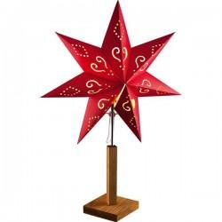 Hellum 576900 Stella di Natale Lampada ad incandescenza Rosso con motivi perforati
