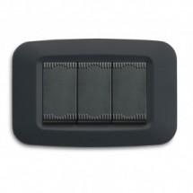 Placca in tecnopolimero Yes 45 per scatola rettangolare colore Grigio Noir - 3 moduli posti, sistema 45.