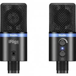 IK Multimedia IRIG MIC STUDIO BLACK Microfono USB da studio Cablato incl. morsetto, Stativo, Alloggiamento in metallo