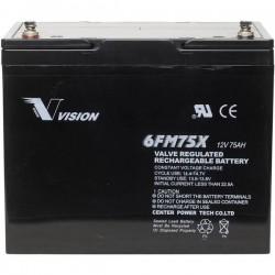 Vision Akkus FM-Serie 6FM75TX Batteria solare 12 V 75 Ah Piombo-AGM (L x A x P) 258 x 206 x 166 mm Vite M6
