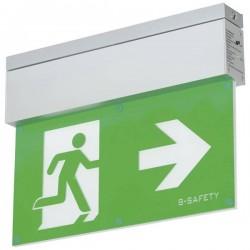 B-SAFETY BR559080 Indicazione via di fuga illuminata a LED Montaggio a soffitto uscita, via di fuga, verso destra, verso