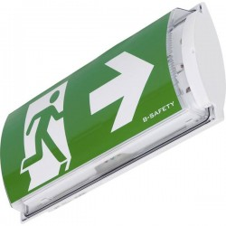 B-SAFETY BR561030 Indicazione via di fuga illuminata a LED Montaggio a parete uscita, via di fuga, verso destra, verso