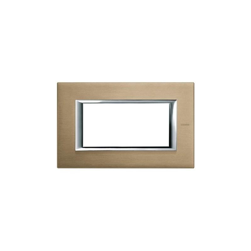 Placca Ticino Axolute, codice HA4804NX, colore titanio spazzolato costruita in metallo.