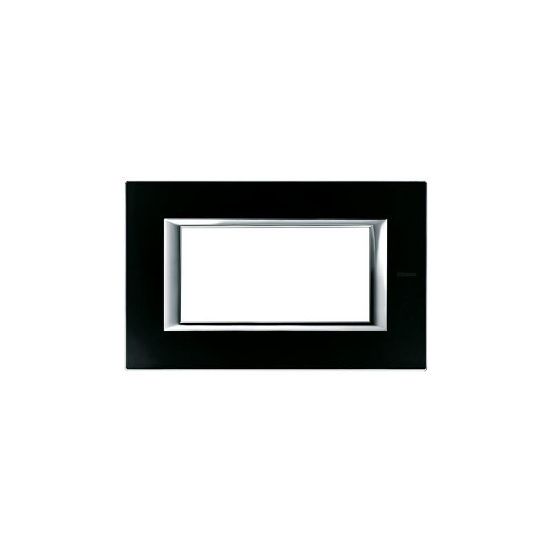 Bticino Axolute, Placca costruita in vetro 4 Posti, forma rettangolare, codice HA4804VNN, colore Nero Notte.