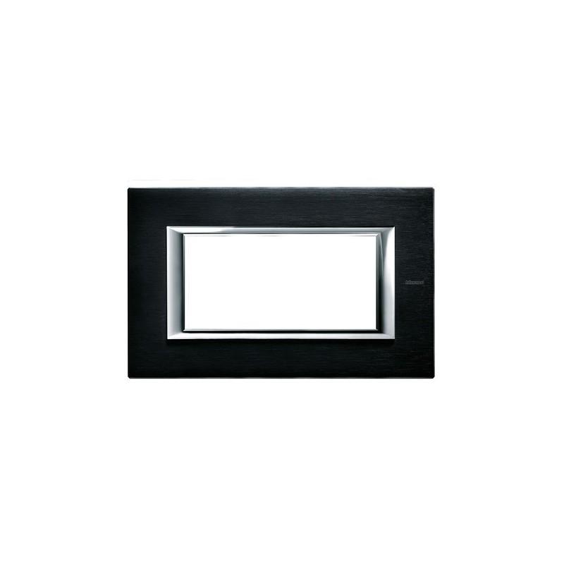 Placca in Metallo, Axolute Ticino HA4804XS, colore Antracite Spazzolata, 4 posti, Migliori Prezzi.