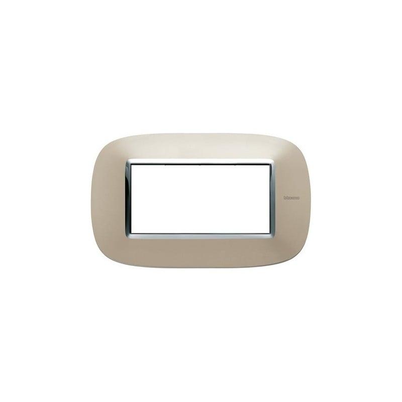 Placca Titanio Chiaro, costruita in metallo, Finitura Lucente, 4 posti, codice HB4804TC, serie axolute ticino.