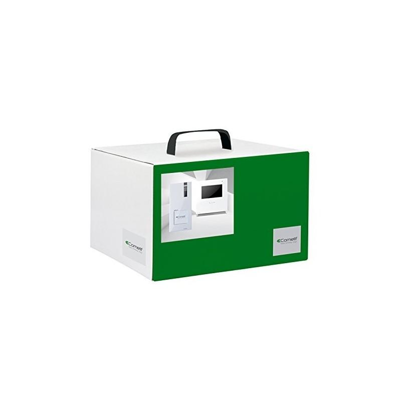 Kit videocitofoni Comelit Simplebus, Serie Quadra + Icona, 1 appartamento, Pulsantiera e Monitor.