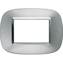 Placca Alluminio in Metallo 3 Moduli Ellittica Axolute Bticino HB4803XC