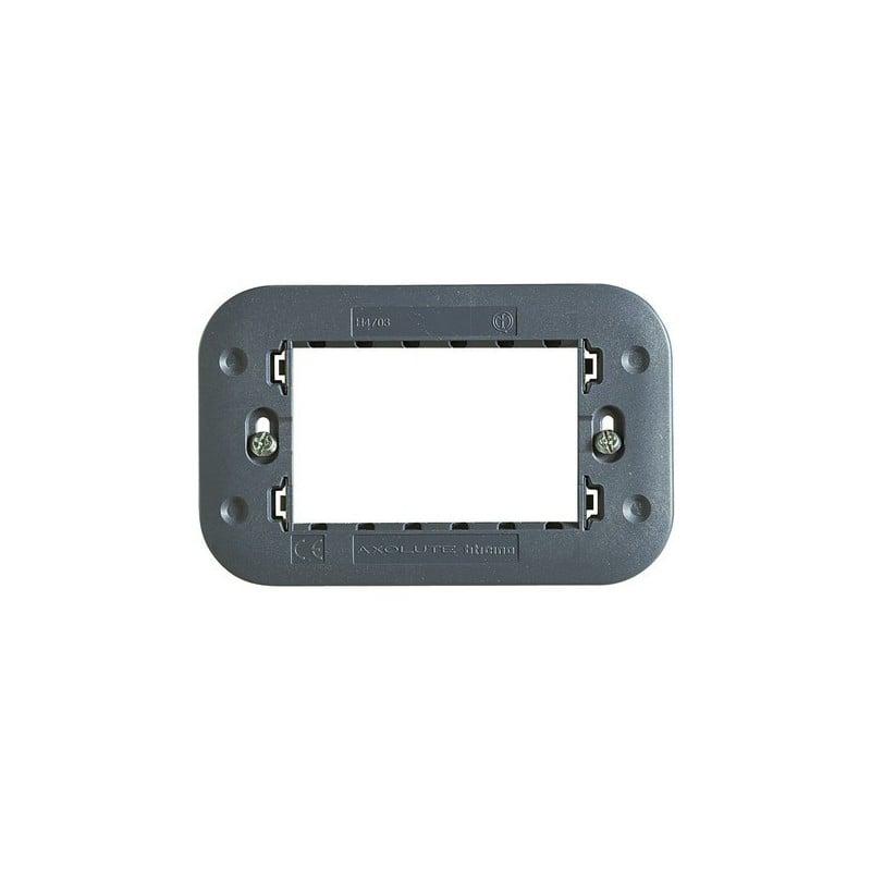 Supporti, Cestelli, Porta Placche 3 Posti Serie Bticino Axolute, fabbricato in resina, nero antracite.