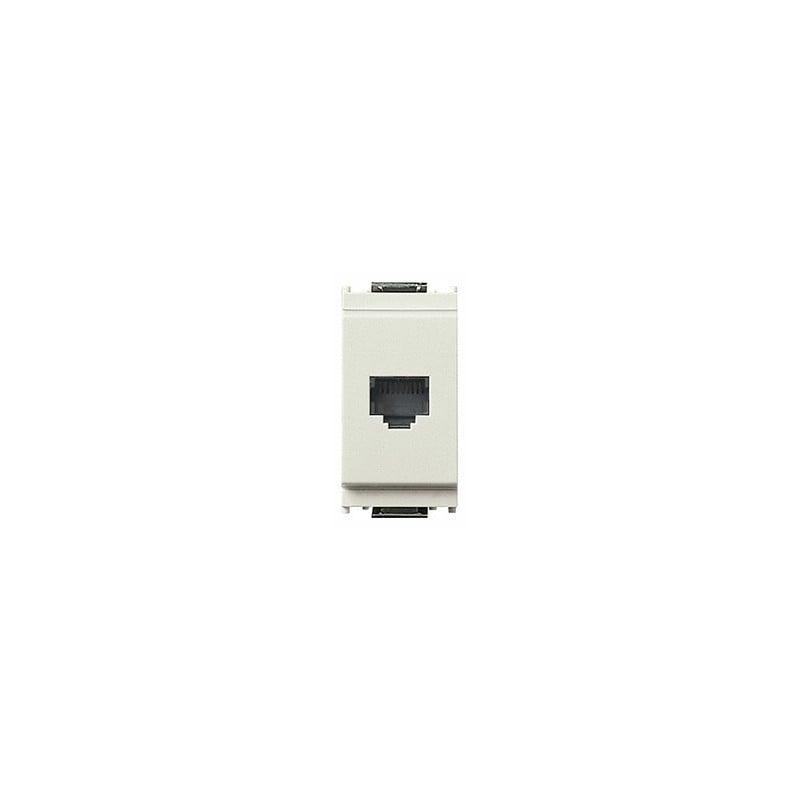Connettore Telfonico Rj11, 6 posizioni 4 contatti (6/4), morsetti a vite, colore bianco, codice 16335.B, Serie Idea.