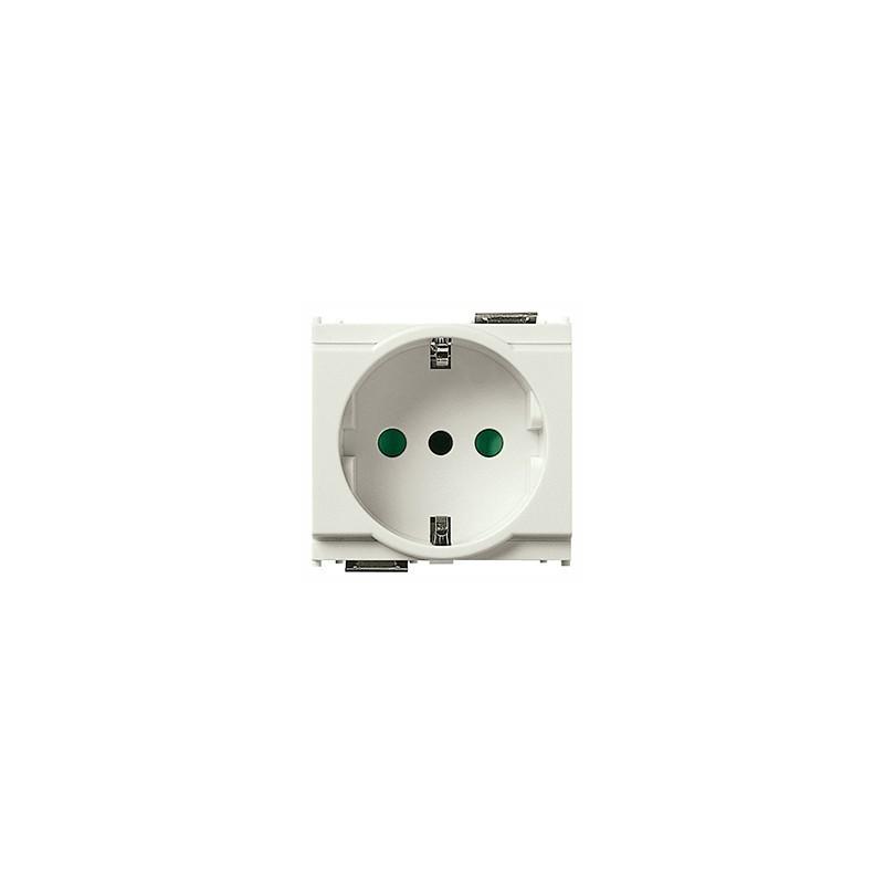Presa SICURY 2P+T 16 A 250 V~, standard italiano tipo P30 (contatti di terra laterali e centrale), bianco - 2 moduli