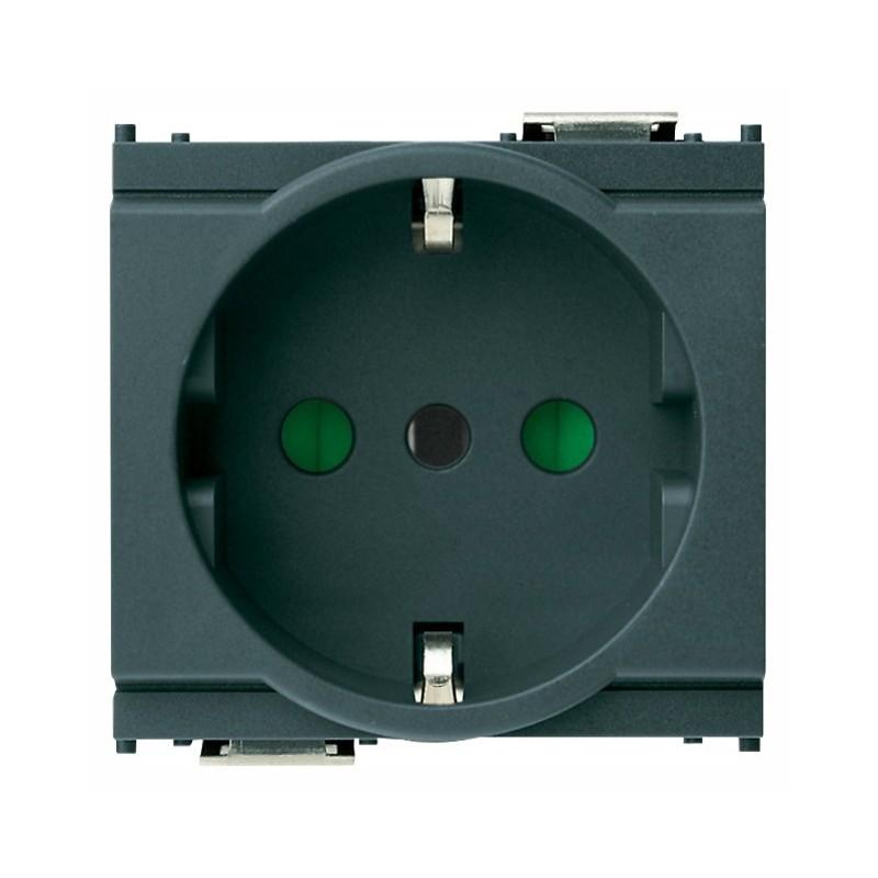 Presa SICURY 2P+T 16 A 250 V~, standard italiano tipo P30 (contatti di terra laterali e centrale), colore grigia - 2 moduli
