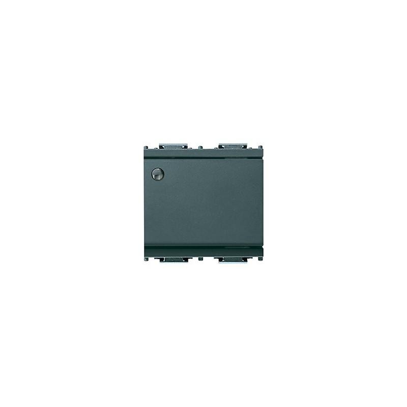 Deviatore 1P 16 AX 250 V~, luminoso, per unità di segnalazione, grigio - 2 moduli. Fornito senza unità di segnalazione