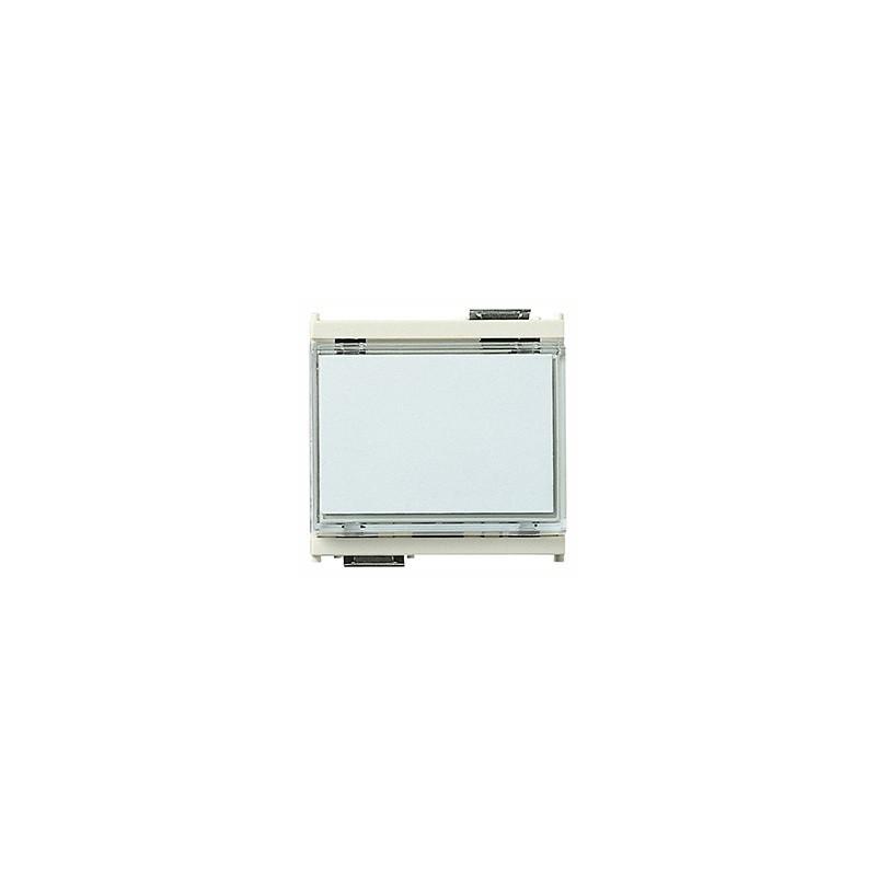 Pulsante 1P NO 10 A 12-24 V~ (SELV), a targhetta luminosa, per lampada siluro 12 o 24 V 3 W ø 7x31 mm, bianco - 2 moduli
