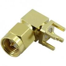 Connettore SMA maschio, montaggio orizzontale, 50 Ω, Conrad Components SMA-KWE, 1 pz.