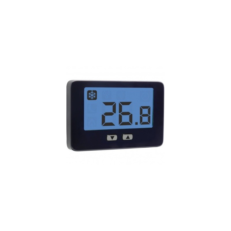 Termostato con display retroilluminato da parete con alimentazione tramite corrente elettrica 230V.