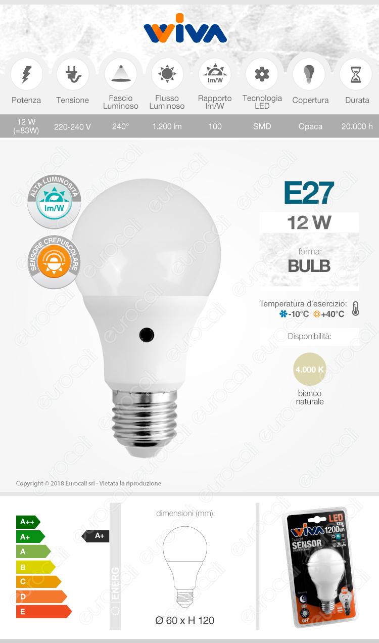 lampadine e27 sensore crepuscolare wiva