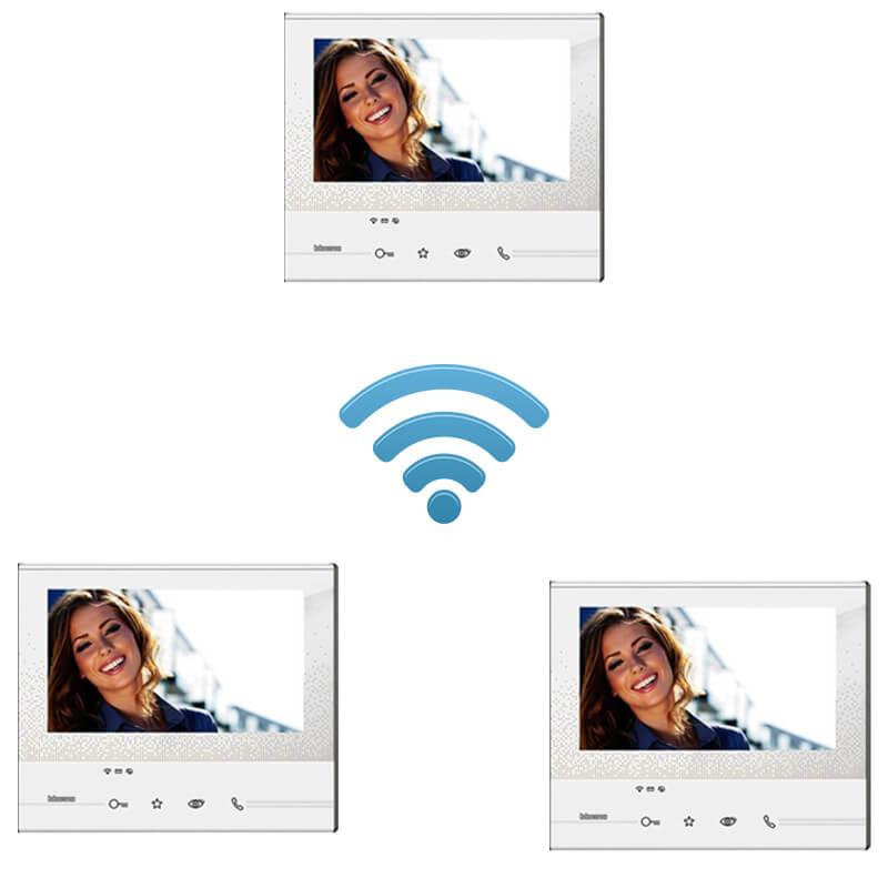 kit videocitofono 3 appartamenti trifamiliare wi-fi senza fili wireless