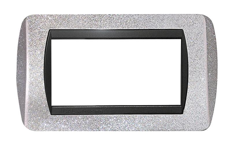 placca compatibile international biticino b ticino argento glitter 4 posti moduli prezzo