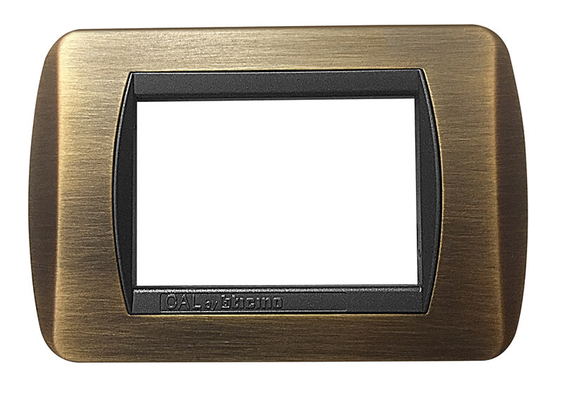 placca in ottone bronzo satinato opaco compatibile bticino living international 3 moduli