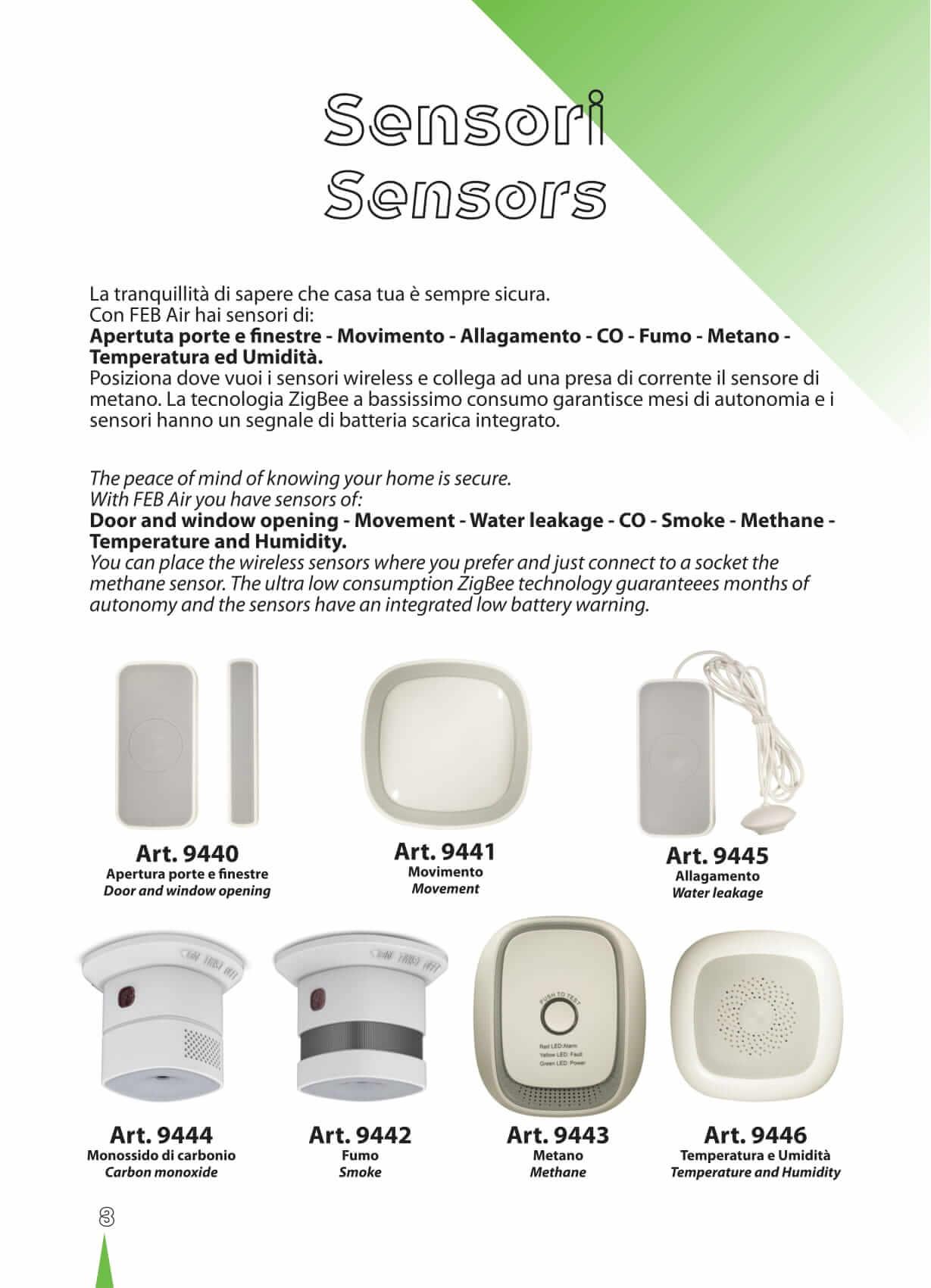 sensori e rilevatori per impianti e sistemi domotici